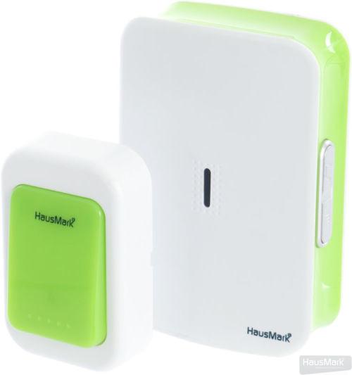 Звонок беспроводной HausMark белый с зеленым WSD-8532-GR14