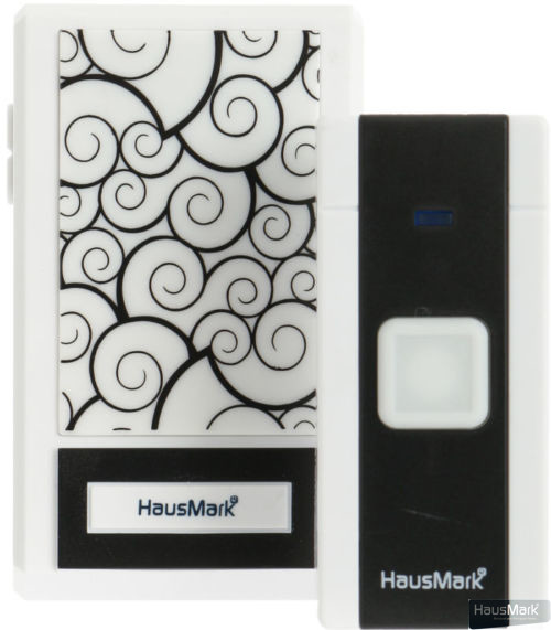 Звонок беспроводной HausMark белый с черным WSD-8528-BK7