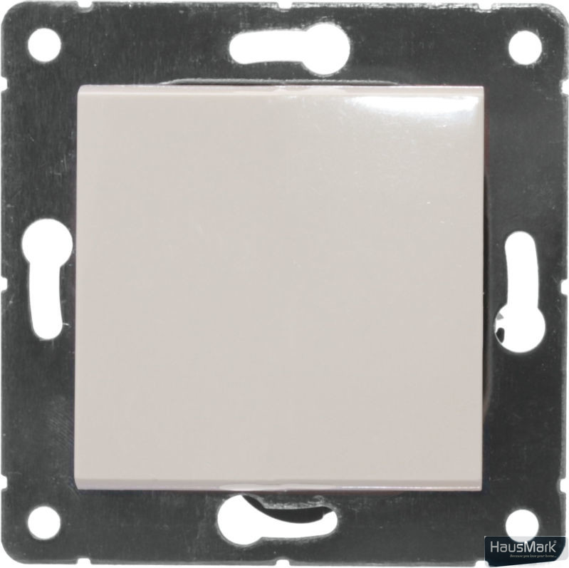 Переключатель проходной одноклавишный HausMark Alta без подсветки 10 А 220В кремовый SNG-SWP.SQ20MG1W2-CR
