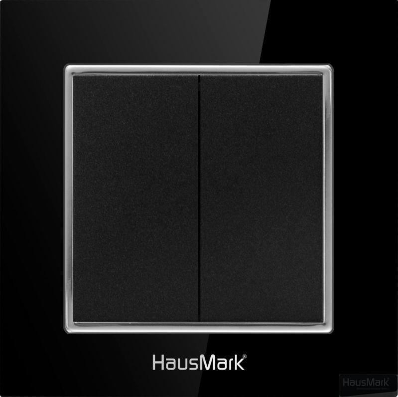 Накладка на механизм выключателя двухклавишный HausMark Alta без подсветки черный SNG-SWP.SQ20MG2W1-BK