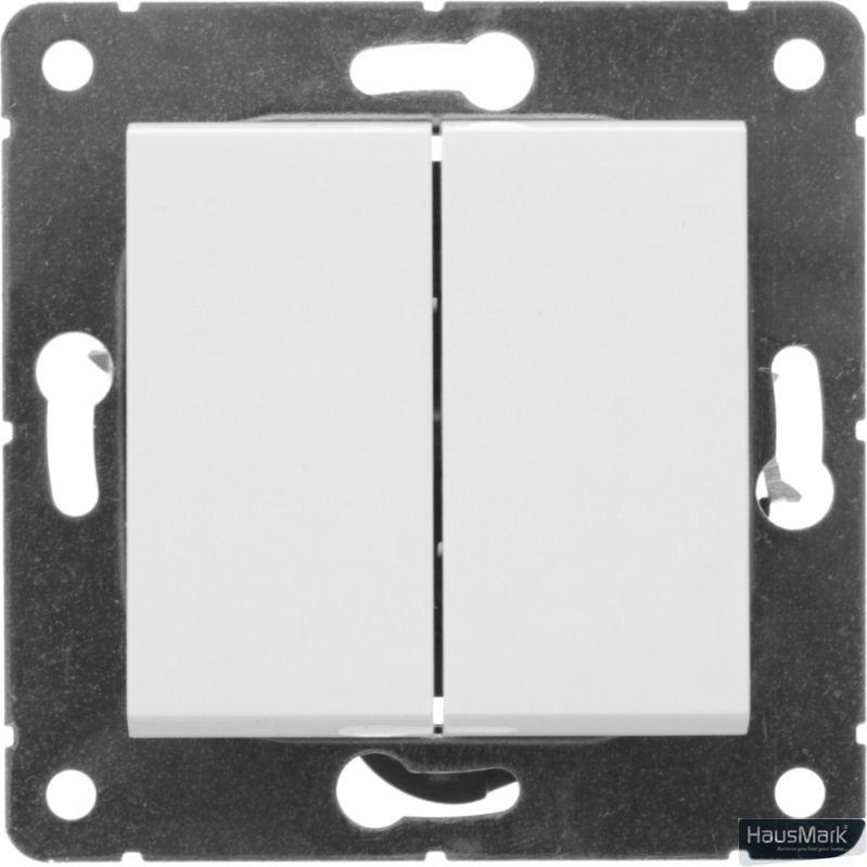 Переключатель проходной двухклавишный HausMark Alta без подсветки 10 А 220В белый SNG-SWP.SQ20MG2W2-WH
