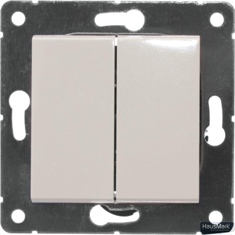 Переключатель проходной двухклавишный HausMark Alta без подсветки 10 А 220В кремовый SNG-SWP.SQ20MG2W2-CR