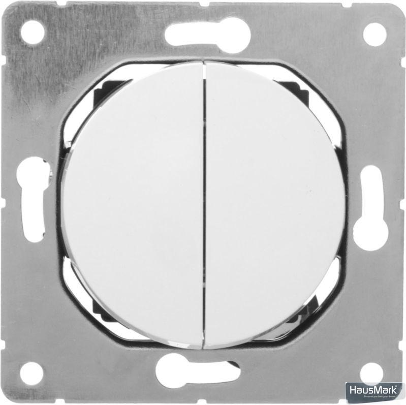 Переключатель проходной двухклавишный HausMark Bela без подсветки 10 А 220В белый SNG-SWP.RD20MG2W2-WH