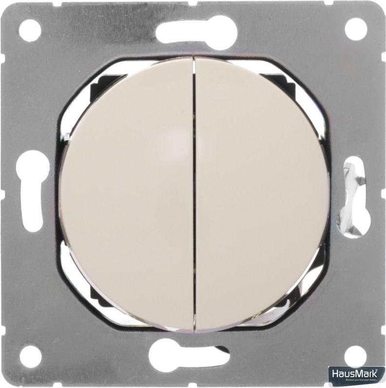 Переключатель проходной двухклавишный HausMark Bela без подсветки 10 А 220В кремовый SNG-SWP.RD20MG2W2-CR