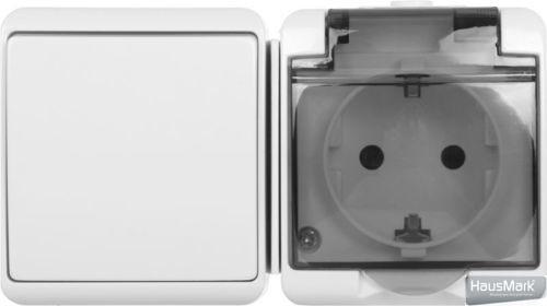 Розетка + выключатель с заземлением HausMark Gardena без шторок с крышкой белый HSN-BLK.H2C44G1W1G1WGC-WH