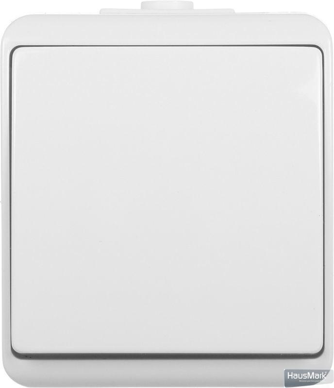 Выключатель проходной одноклавишный HausMark Power без подсветки 10 А 250В белый HSN-SWP.H2C44G1W2-WH