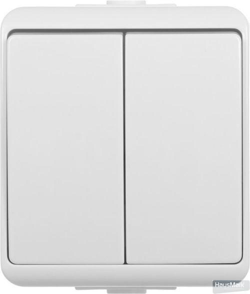 Выключатель двухклавишный HausMark Power без подсветки 10 А 250В белый HSN-SWP.H2C44G2W1-WH