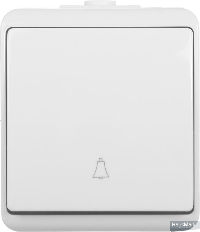 Кнопка звонка кнопочный HausMark Power без подсветки 10 А 250В белый HSN-SWP.H2C44G1BS-WH