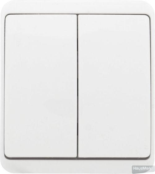 Выключатель двухклавишный HausMark Domo без подсветки 10 А 220-250В белый HSN-SWP.H3C20G2W1-WH