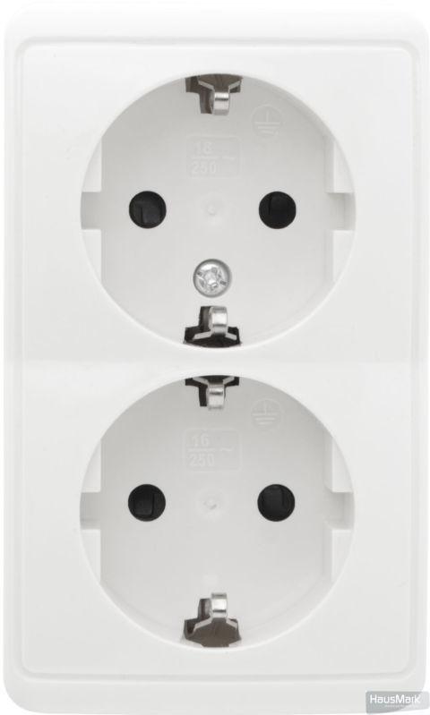 Розетка двойная с заземлением HausMark Domo без шторок крем HSN-SCP.H3C20G2WG-WH