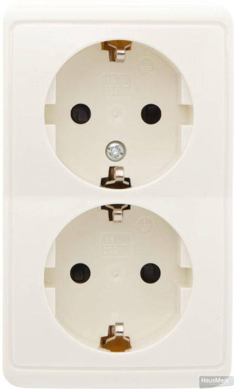 Розетка двойная с заземлением HausMark Domo крем HSN-SCP.H3C20G2WG-CR
