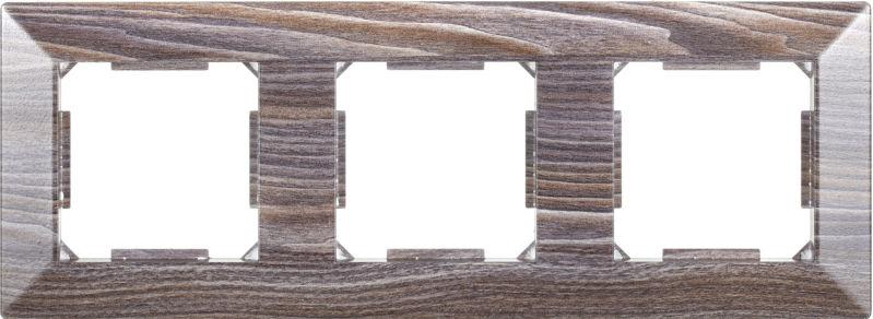 Рамка трехместная HausMark Alta горизонтальная вяз темный SNG-FRP.SQ20G3-7/Elm-dark