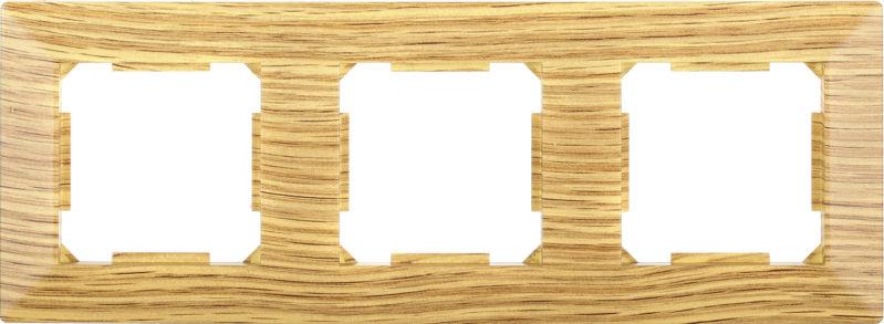 Рамка трехместная HausMark Alta горизонтальная дуб SNG-FRP.SQ20G3-6/Oak