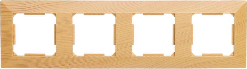 Рамка четырехместная HausMark Alta горизонтальная бамбук SNG-FRP.SQ20G4-3/Bamboo
