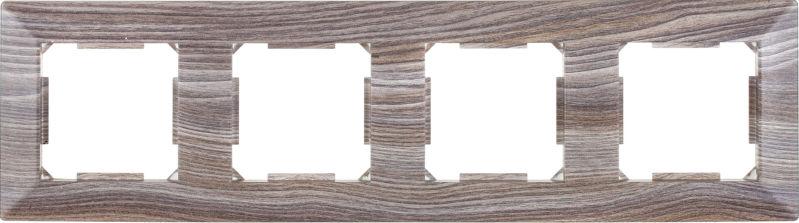 Рамка четырехместная HausMark Alta горизонтальная вяз темный SNG-FRP.SQ20G4-7/Elm-dark