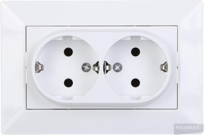 Розетка двойная HausMark Alta белый SNG-SCP.SQ20MG21WG-WH