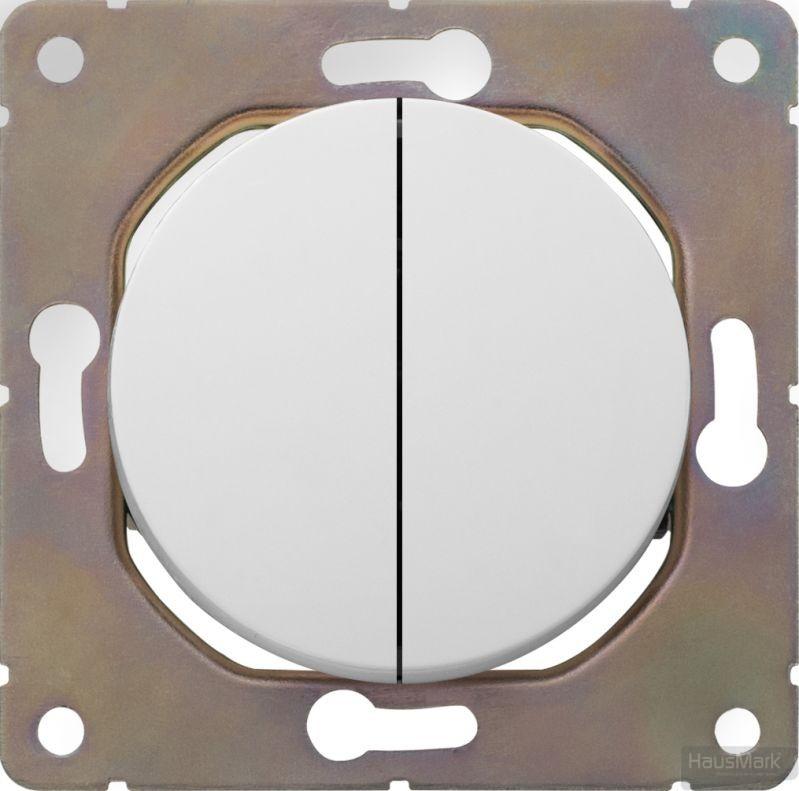Выключатель двухклавишный HausMark Bela без подсветки 10 А 220В белый SNG-SWP,RD20MG2W1-WH