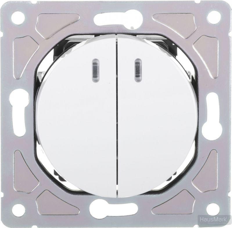 Выключатель двухклавишный HausMark Bela с подсветкой 10 А 250В белый SNG-SWP.RD20MG2W1L-WH