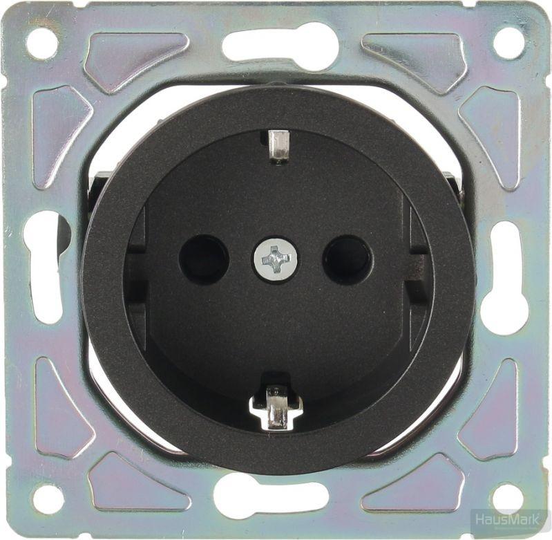 Механизм розетки с заземлением HausMark Bela без крышки черный SNG-SCP.RD20MG1WG-BK