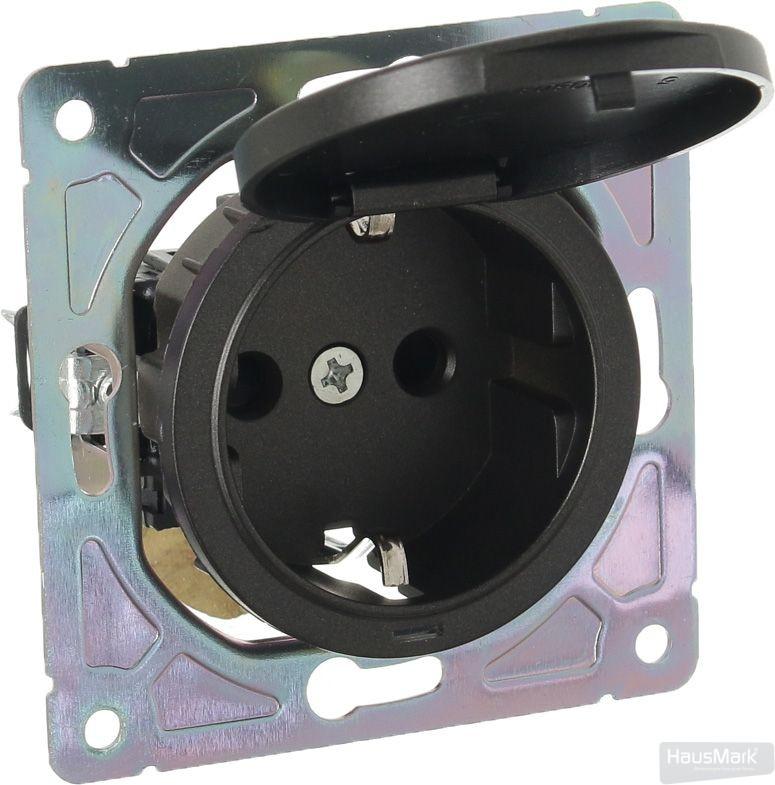 Механизм розетки HausMark Bela с крышкой черный SNG-SCP.RD20MG1WGC-BK