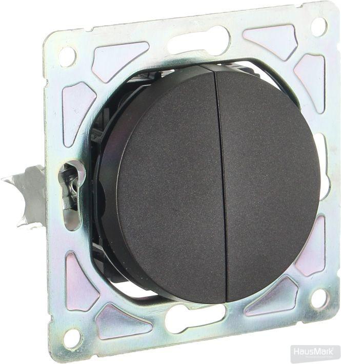 Механизм выключателя двухклавишный HausMark Bela без подсветки 10 А 220В черный SNG-SWP.RD20MG2W1-BK