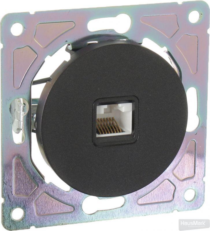 Механизм розетки компьютерная HausMark Bela без крышки черный SNG-SCP.RD20MG1PC-BK