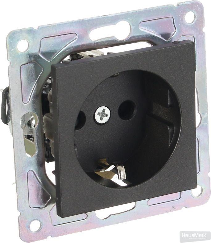 Механизм розетки с заземлением HausMark Alta без крышки черный SNG-SCP.SQ20MG1WG-BK
