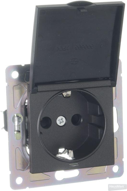 Механизм розетки HausMark Alta с крышкой черный SNG-SCP.SQ20MG1WGC-BK