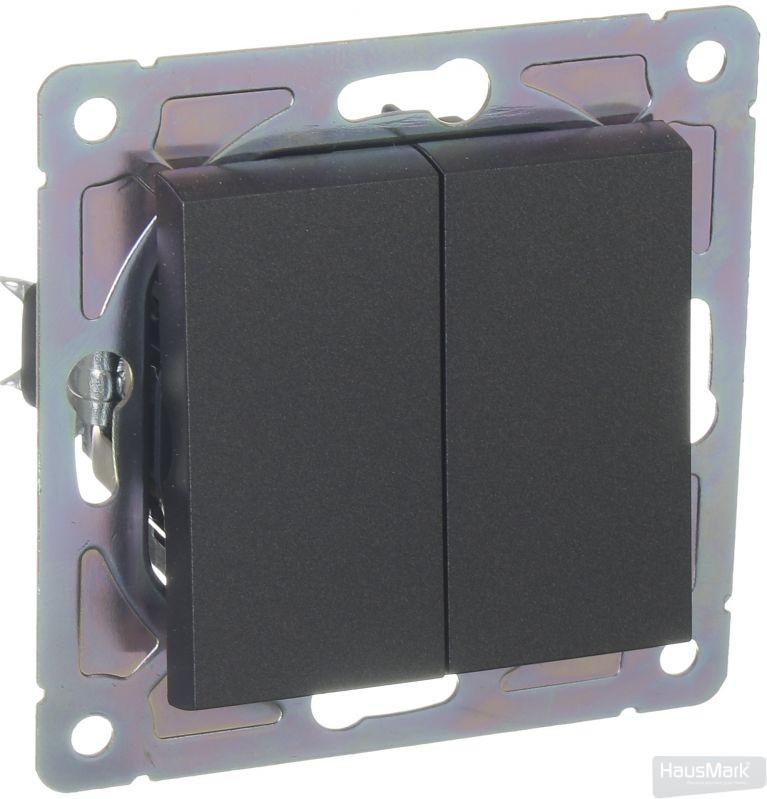 Механизм выключателя двухклавишный HausMark Alta без подсветки 10 А 220В черный SNG-SWP.SQ20MG2W1-BK