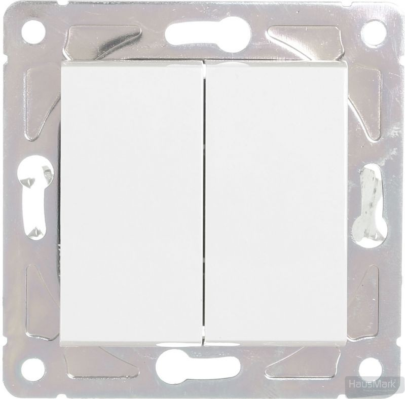 Выключатель двухклавишный HausMark Alta без подсветки 10 А 220В белый SNG-SWP.SQ20MG2W1-WH