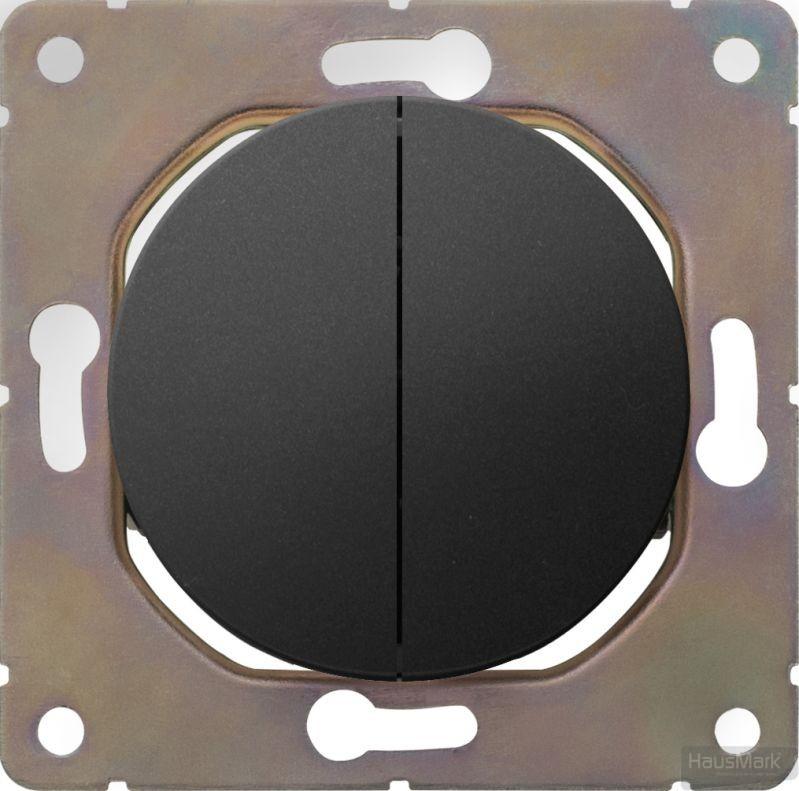 Накладка на механизм выключателя двухклавишный HausMark Bela без подсветки черный SNG-SWP.RD20MG2W1-BK